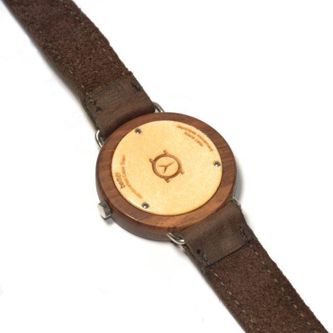 "Montre en bois ""Ellipse"" 44mm - bracelet cuir brun 4"