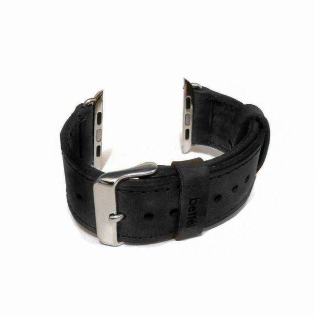 Bracelet en cuir noir grande taille pour Apple Watch largeur 42 & 44mm