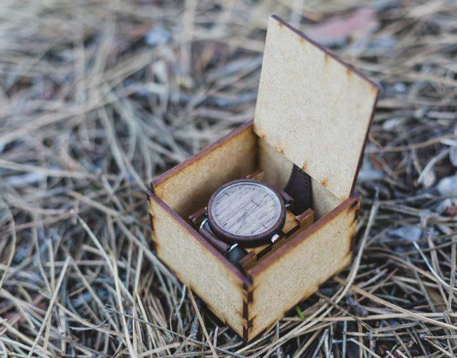 "Montre en bois ""Ellipse"" 44mm - bracelet cuir brun 5"