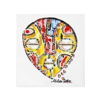 Tableau africain masque jaune – 44x50cm