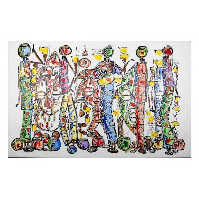 Tableau africain 5 femmes porteuses de cruche d'eau – 168x106cm