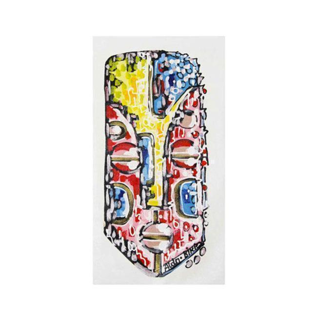 Peinture acrylique Masque rouge / jaune – 38x70cm