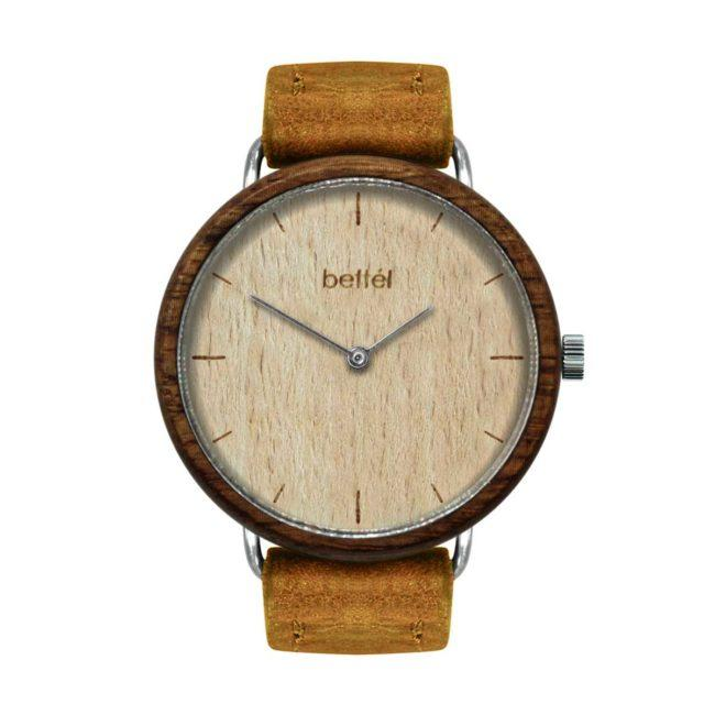 "Montre en bois ""The Acorn Beech"" 36mm – bracelet cuir beige"