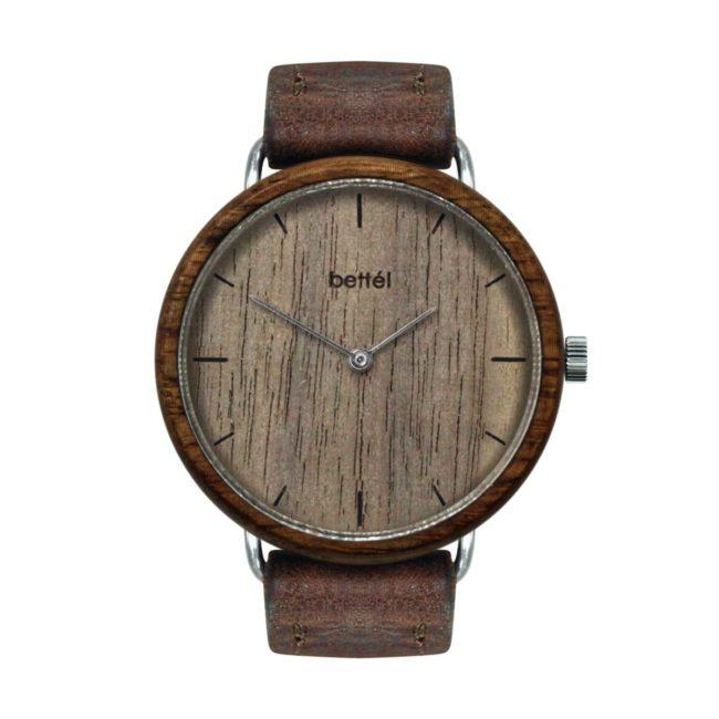 "Montre en bois ""The Acorn Walnut"" 36mm – bracelet cuir brun"