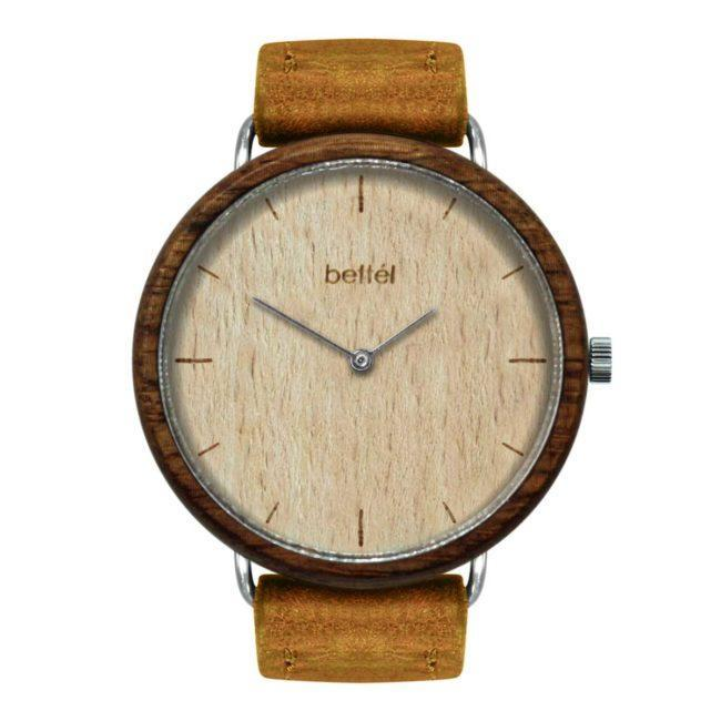 "Montre en bois ""The Favourite Beech"" 40mm – bracelet cuir beige"