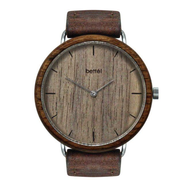 "Montre en bois ""The Favourite Walnut"" 40mm – bracelet cuir brun"