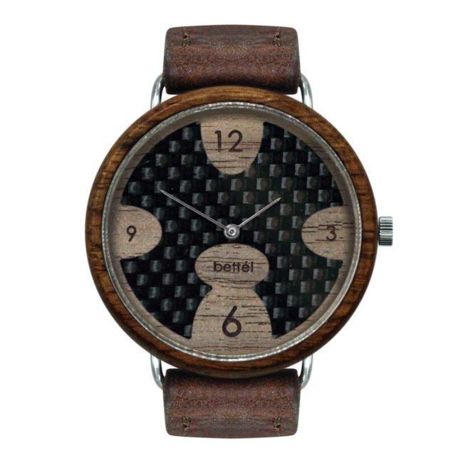 """Montre en bois à cadran en carbone """"Ellipse"""" 40mm – Bracelet cuir brun"""