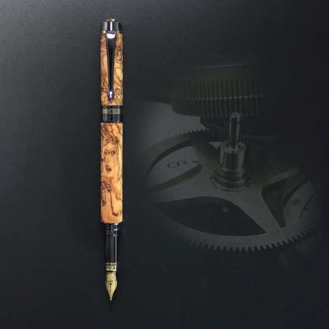 Stylo plume en bois de loupe d'olivier sauvage – appareil Or & Bronze