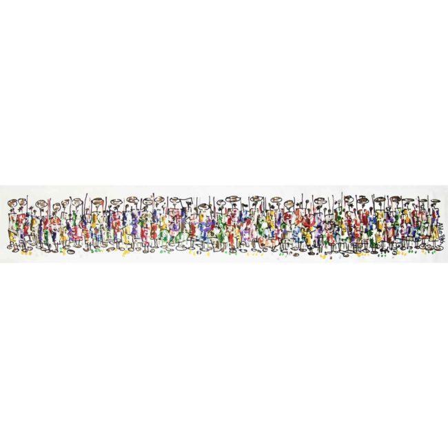 Tableau acrylique Guerriers swahili – 177x30cm