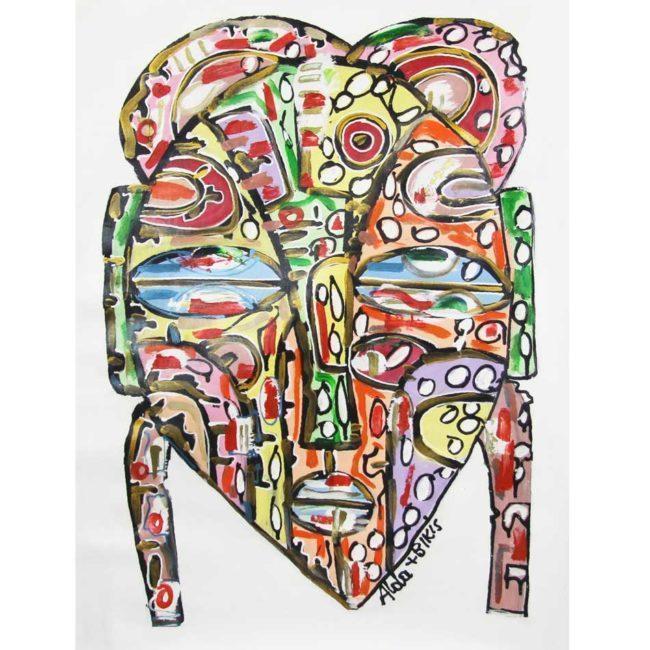 Tableau Masque multicolor sur fond blanc – 67x90cm