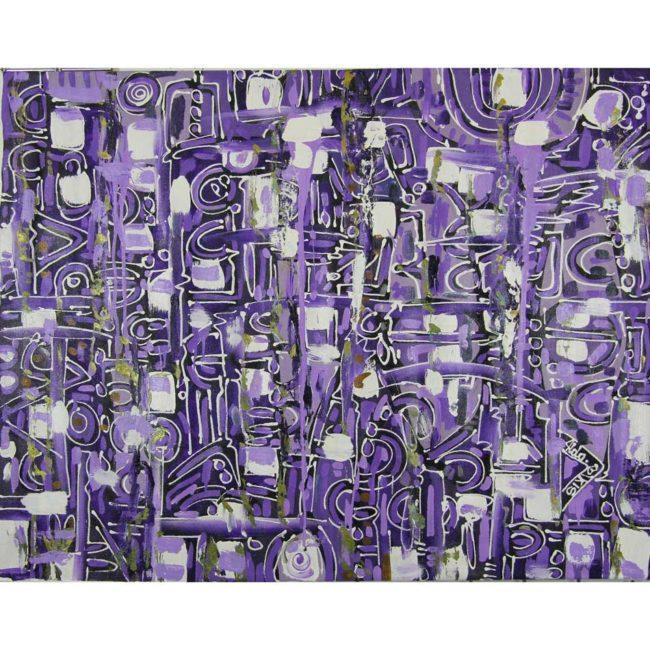 Grand tableau contemporain violet & noir, horizontal – 119x93cm