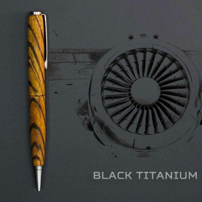 Stylo en bois de Zèbre – appareil Titane