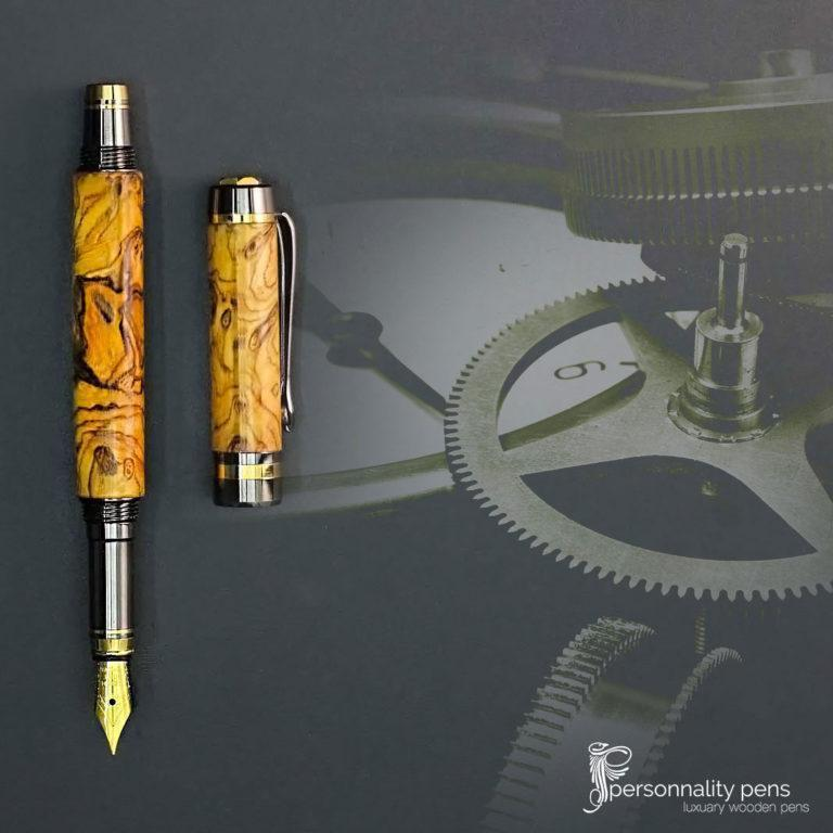 021-fountain-pen-wooden-olive-burl-logo-Peronality