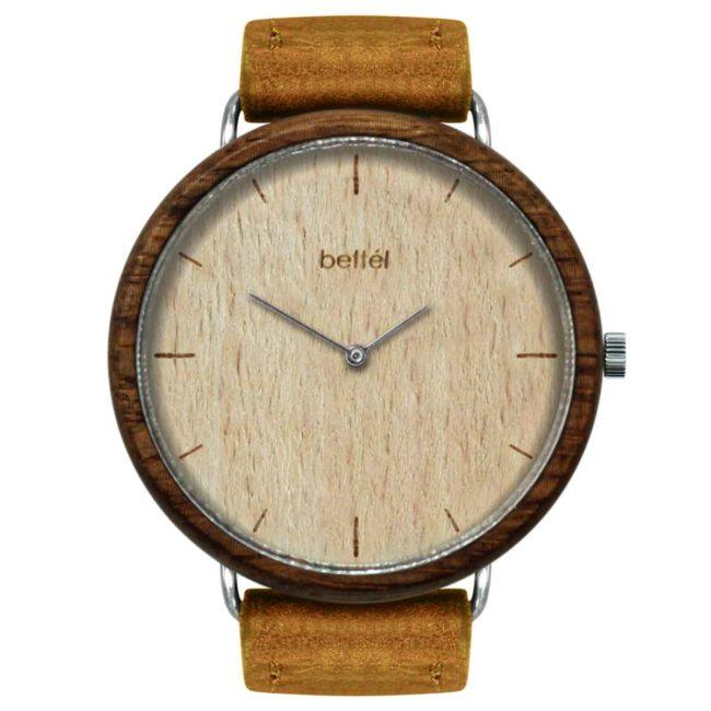 "Montre en bois ""The Albatross Beech"" 44mm – bracelet cuir beige"