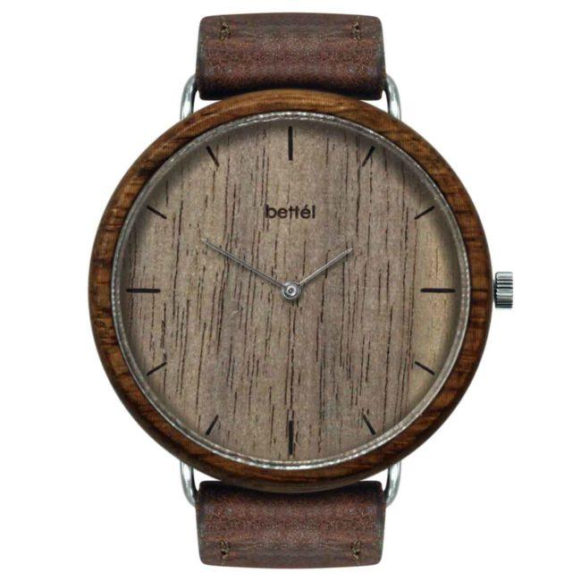 "Montre en bois ""The Albatross Walnut"" 44mm – bracelet cuir brun"