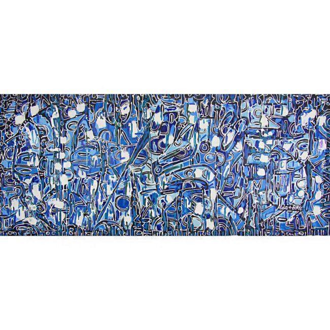 Grand tableau abstrait bleu & blanc, horizontal – 191x81cm