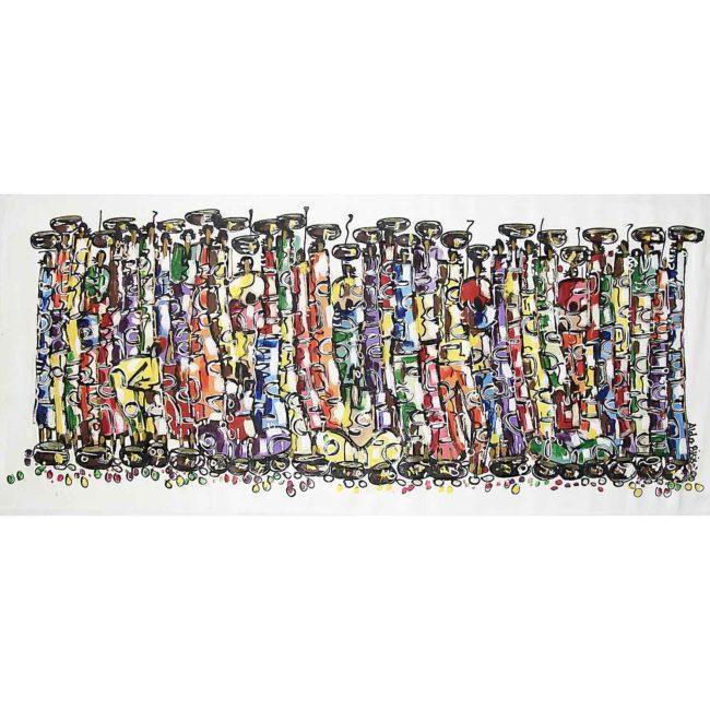 Grand tableau africain coloré, horizontal – 192x82cm