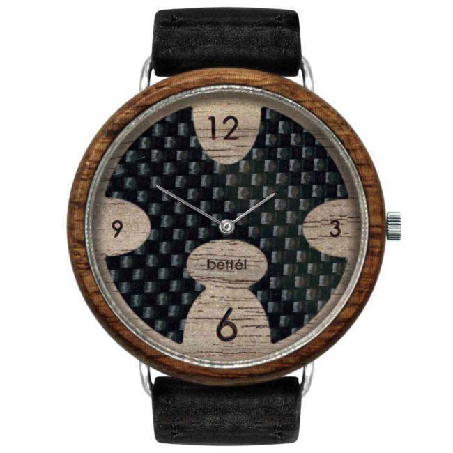 """Montre en bois à cadran en fibre de carbon """"Ellipse"""" 44mm – Bracelet cuir noir"""