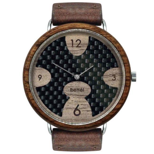 """Montre en bois à cadran en carbone """"Ellipse"""" 44mm – bracelet cuir brun"""