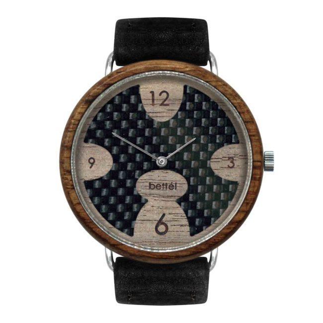 """Montre en bois """"Ellipse"""" 40mm – Bracelet cuir noir"""