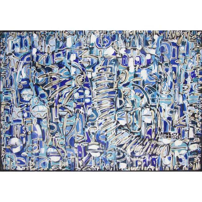 Tableau acrylique Éléphant bleu/argent – 138x95cm