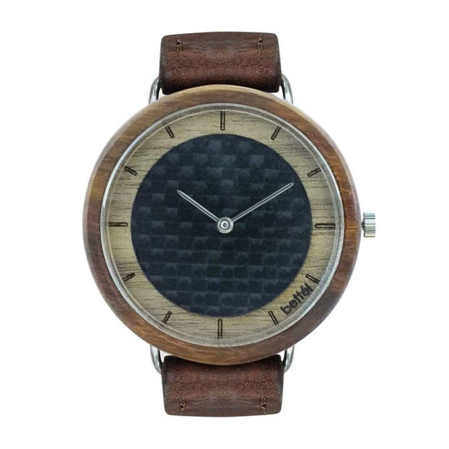 "Montre en bois ""The Carbon Portal"" 40mm – Bracelet cuir brun"