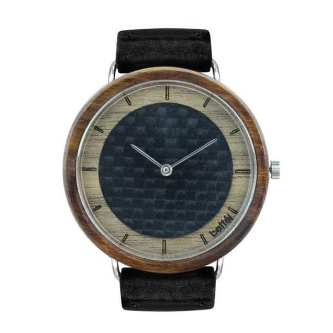 """Montre en bois à cadran en fibre de carbon """"The Carbon Portal"""" 40mm – Bracelet cuir noir"""