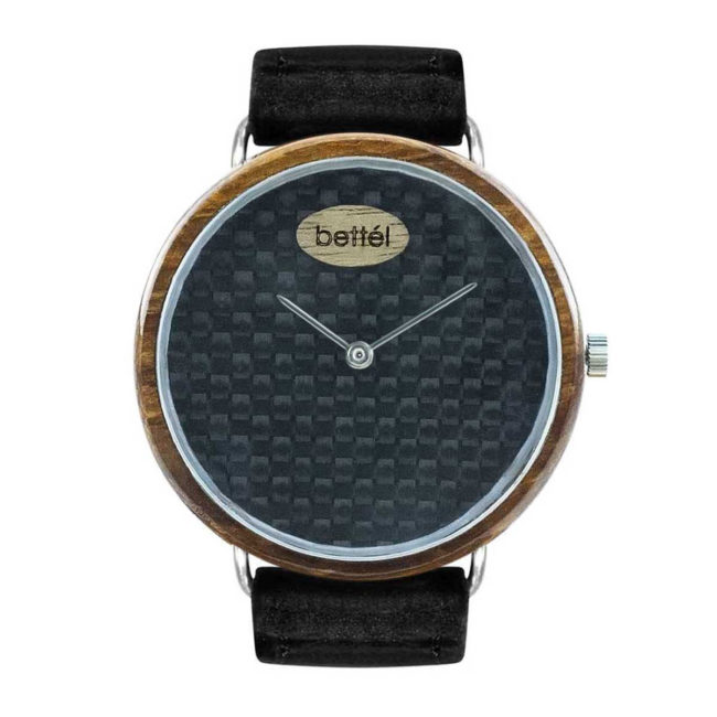 "Montre en bois ""The Ellipse II"" 40mm – Bracelet cuir noir"