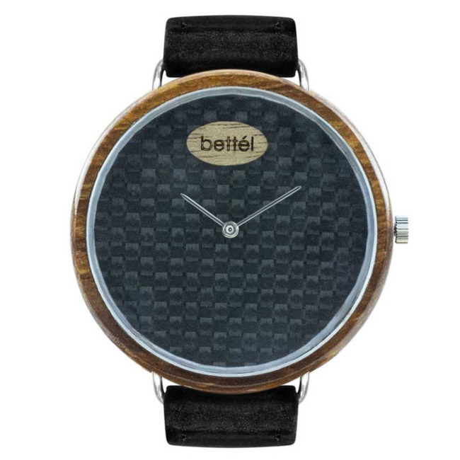 "Montre en bois ""The Ellipse II"" 44mm – bracelet cuir noir"