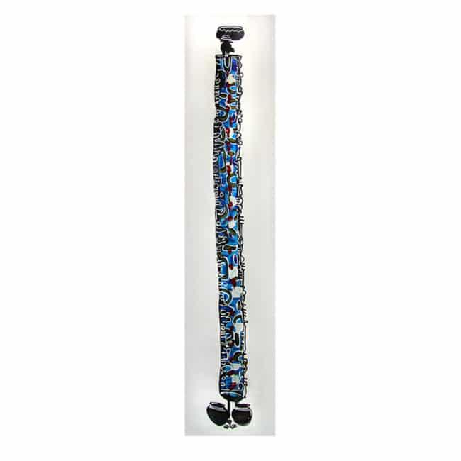 Tableau africain 1 femme en bleue porteuse de cruche d'eau – 30x169cm