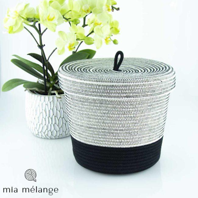 Corbeille en coton de forme cylindrique à couvercle – collection Liquorice